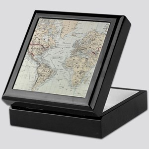 Vintage Map of The World (1875) Keepsake Box